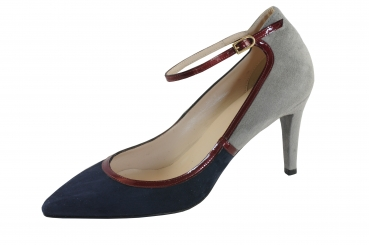 Moda di Fausto Damen Pumps 57376 blau/bordo/grau Velourleder/Lackleder